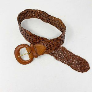 FOSSIL Brown Bohemian Buckle Genuine Leather Woven Links Belt Small
